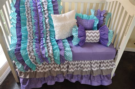 purple chevron crib bedding custom crib bedding purple and aqua chevron by