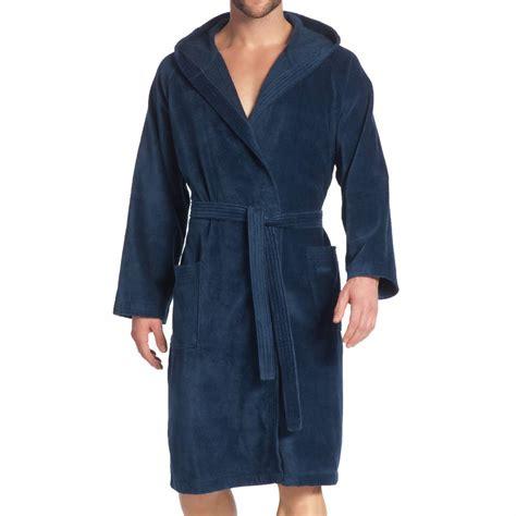 robe de chambre capuche peignoir de bain bimatire vossen en coton bleu