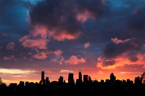 skyline sunset melbourne street