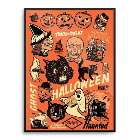 beistle vintage   halloween decoration poster print witch mondo rare popart