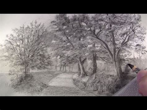 draw  charcoal pencils landscape sketching