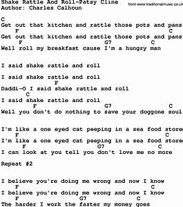 Country Musicshake Rattle And Roll Patsy Cline Lyrics And