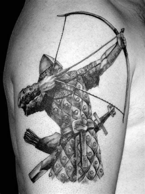 50 Archery Tattoos For Men - Bow And Arrow Designs | Archery tattoo, Archer tattoo, Warrior tattoos