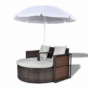 Canape Rond Exterieur : acheter canap de 2 places rond brun avec le parasol pas ~ Teatrodelosmanantiales.com Idées de Décoration
