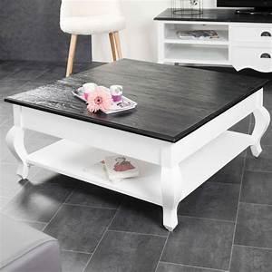 Table basse acajou : bois massif, carrée blanche, noire, Idao, 95 cm
