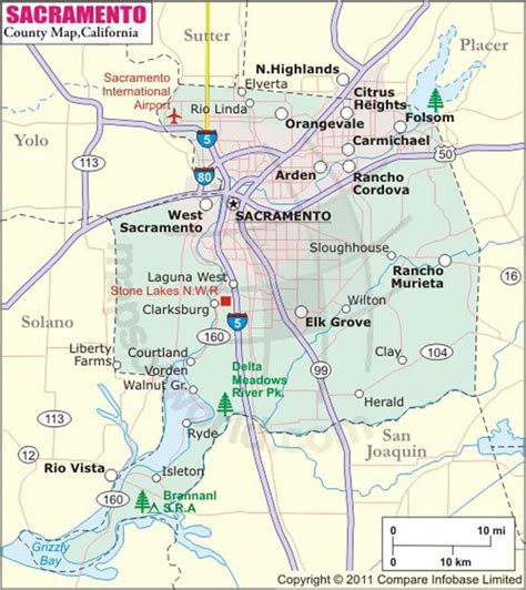 sacramento county map map  sacramento county california