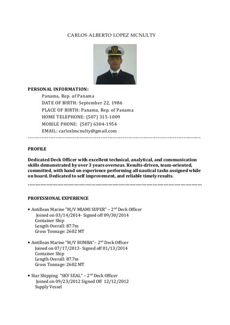 Basic Information For A Resume by Cv Basic Dp Deck Officer Carlos Mcnulty