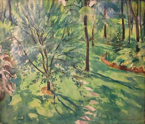 martha walter home garden scene painting  sale