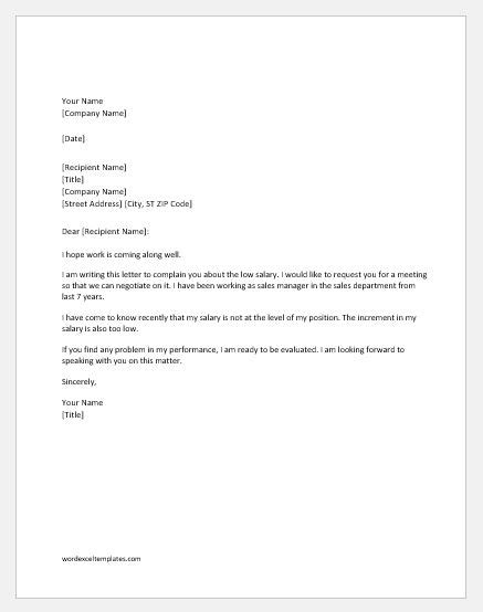 salary complaint letter  boss word excel templates