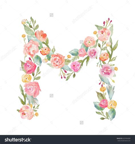 stock photo watercolor floral monogram letter  floral alphabet letters  isolated white