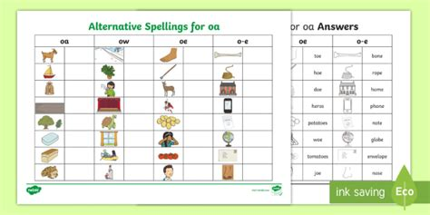 * New * Alternative Spellings Oaoeowoe Table Worksheet  Diphthong, Oa