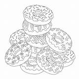 Coloring Donut Donuts Getdrawings sketch template