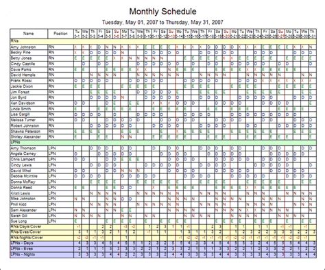staff schedule template monthly printable schedule template