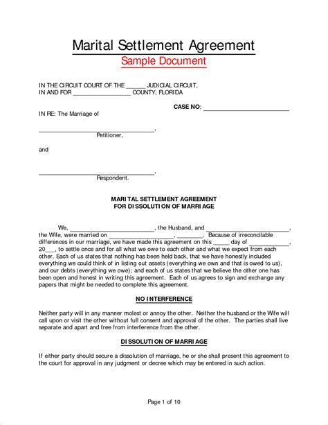 marital settlement agreement template 8 marriage separation agreement templatereport template document report template