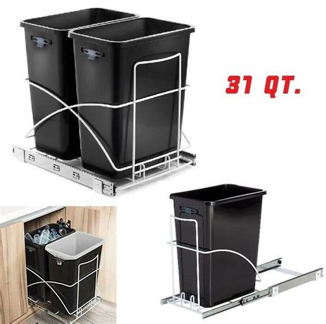 pull out trash can single sink cabinet shelf
