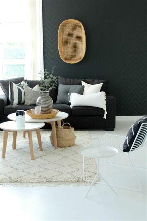 deco salon deco nordique avec tapis beige  canape gris