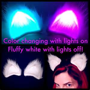 led cat ears fluffy white simple color changing led cat ears glow in the