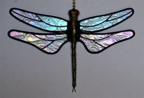 dragonfly stained glass l stained glass dragonfly fan pull suncatcher by