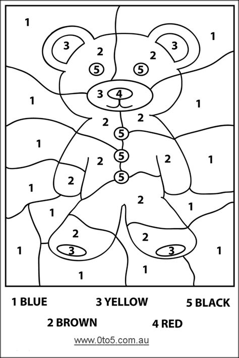 tocomau teddybear colour  number easy template