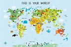 Childrens World Map Daycare Decor Classroom Decor Playroom