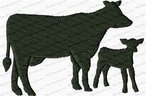 Cow And Calf Silhouette Applique Embroidery Design Kris