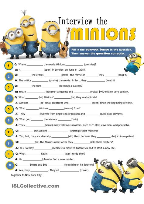 interview  minions review  tenses esl printable worksheet   day  august