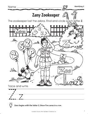 zany zookeeper identifying  printable skills sheets