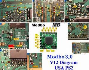 V12 Modbo Modchip Installation Diagram