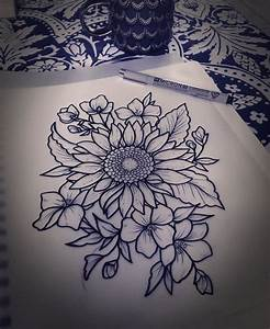 Drawn sunflower pinter - Pencil and in color drawn ...