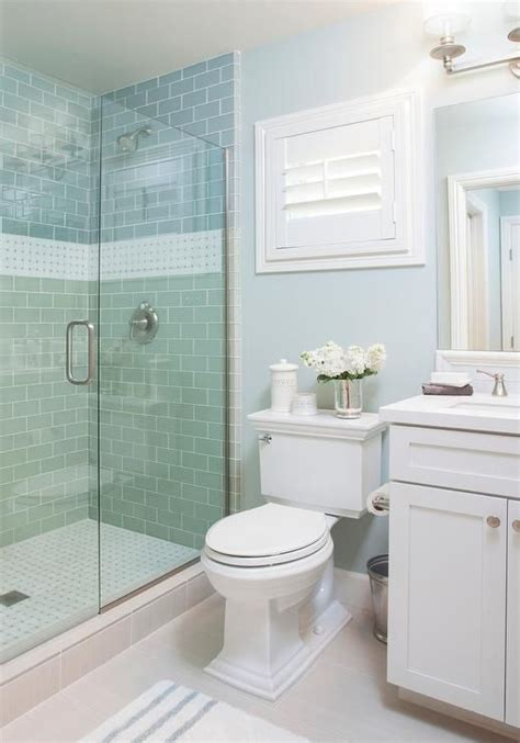 Glass Tile Ideas For Small Bathrooms by Blue Cottage Bathroom Features A Walk In Shower Clad In