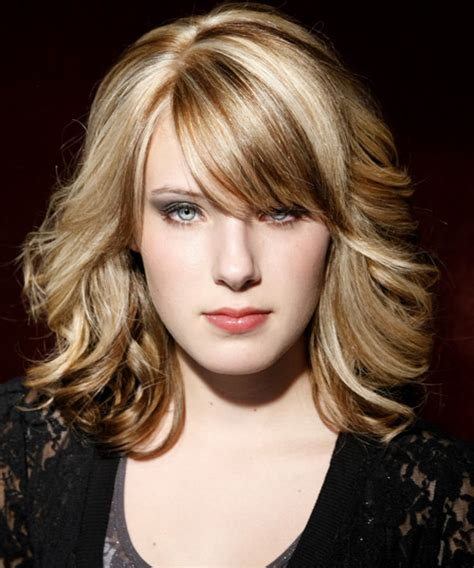 medium wavy formal hairstyle with side swept bangs chagne hair color with