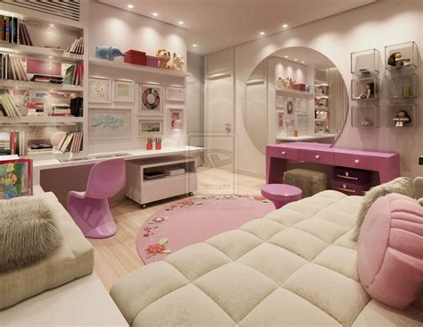 Pink Nad White Super Girly Room With Round Wall Mirror