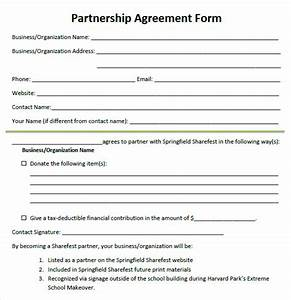 sample partnership agreement free word s templates sample With silent partner contract template