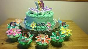 Tinkerbell Birthday Cake with Cupcakes | birthday cakes ...