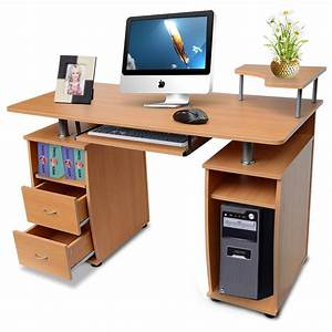 computer desk with shelves cupboard drawer home office With c f home furniture