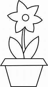 Flower Pot Coloring Page - Free Clip Art