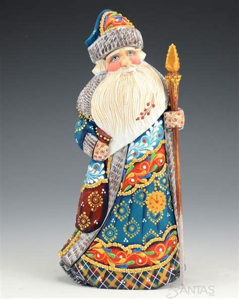 blue coat decorative russian santa claus santascom