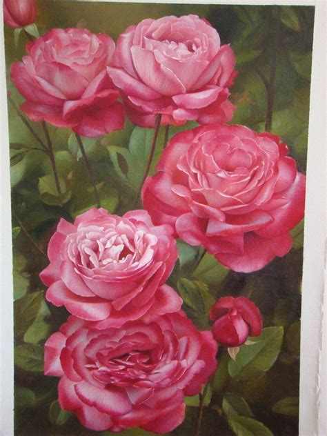 beautiful  realistic flower paintings templates