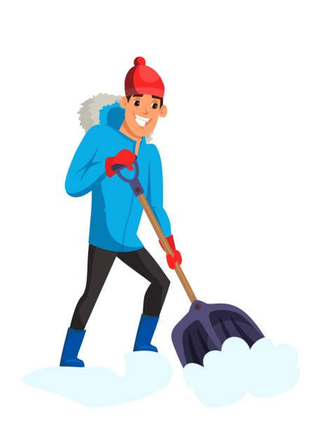 shoveling snow illustrations royalty  vector graphics