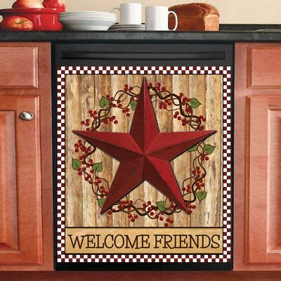 country primitive decor kitchen dishwasher magnet red