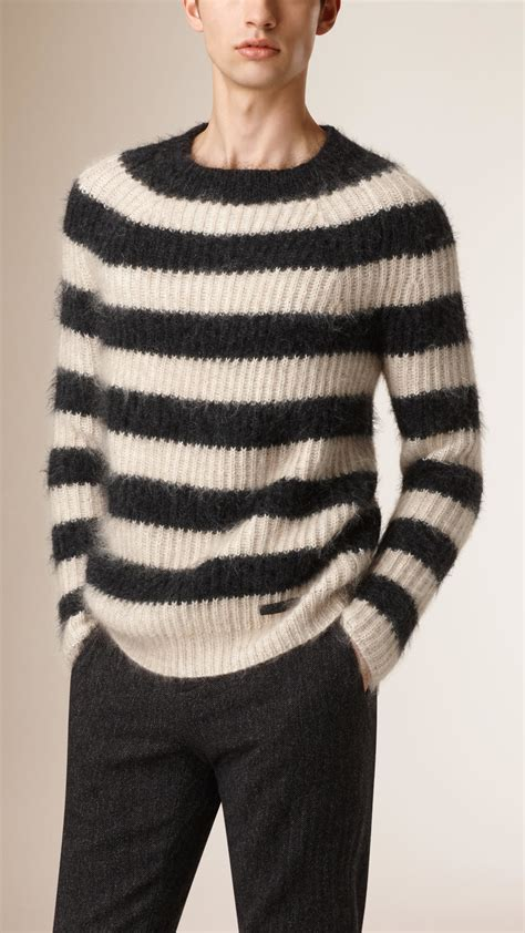 mohair sweater lyst burberry striped wool mohair blend sweater in