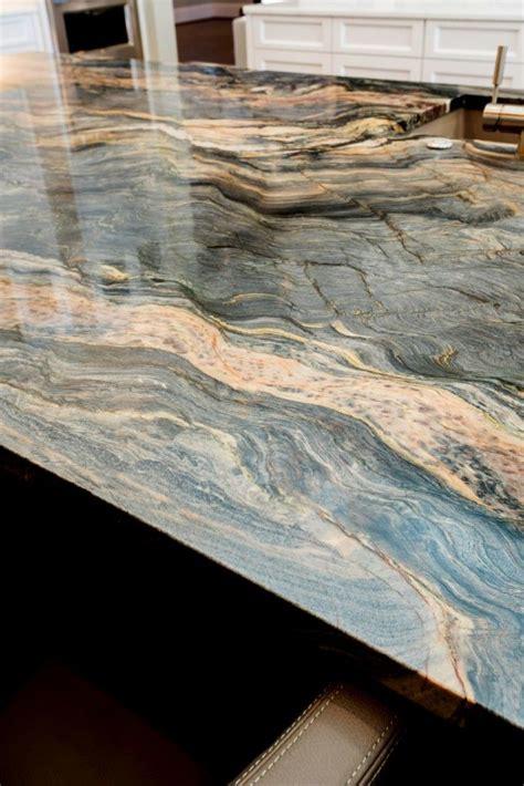 blue fusion quartzite kitchen island aria stone gallery