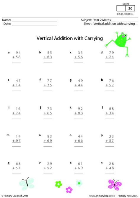 Vertical Addition With Carrying Primaryleapcouk