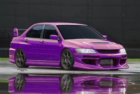 purple mitsubishi purple evo by killboxgraphics on deviantart