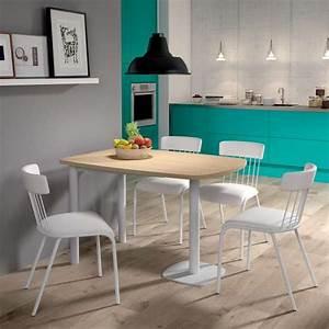 Table Cuisine Petit Espace : table de cuisine demi oblongue en stratifi et m tal pour petit espace lucca 4 ~ Teatrodelosmanantiales.com Idées de Décoration