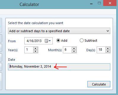 calculate date calculator windows computer freaks