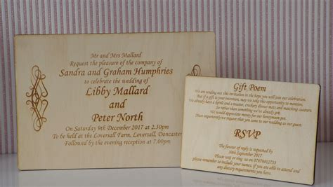 wooden engraved rustic wedding invitation  gift