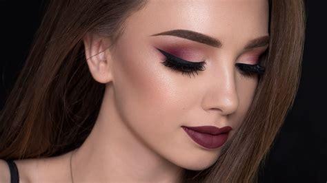burgundy smokey eyes bold lips makeup tutorial fall