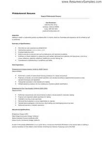 Ca Resume Objective by Phlebotomy Resume Objective Resume Cover Letter Sles For Phlebotomists Sle Phlebotomist