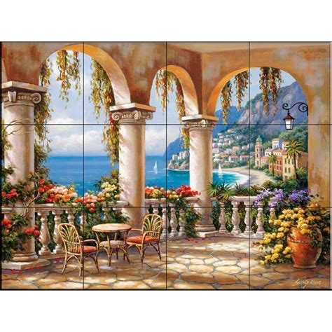 The Tile Mural Store Terrace Arch I 17 In X 1234 In